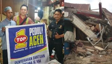 Foto Oli TOP1 Sumbang Korban Gempa Aceh dengan Lunasi Utang Bengkel Rekanan