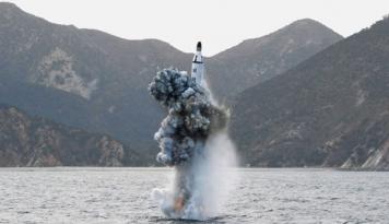 Foto Korut Tembakkan Rudal Scud, Jepang Protes