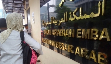 Foto Protes Eksekusi Mati TKI, Kedubes Arab Saudi Didemo