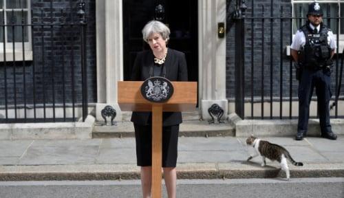 Foto Theresa May: Inggris Mengutuk Aksi Kekerasan dan Rasisme di Virginia