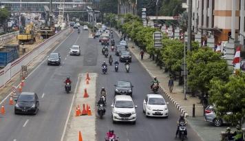 Foto Akhirnya Dishub Pasang Marka Khusus Sepeda Motor