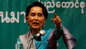 Foto Suu Kyi Ajak Pebisnis Jepang Berinvestasi di Myanmar