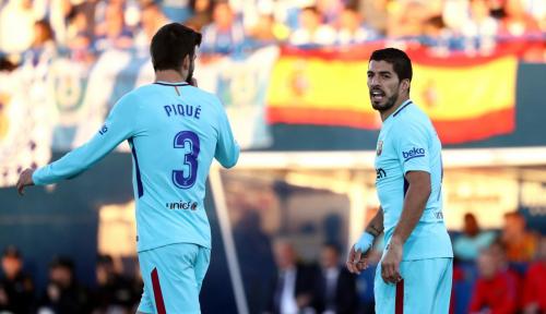 Foto Suarez dan Coutinho Gulung Malaga Tanpa Messi