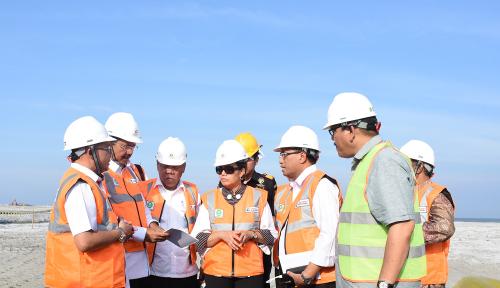 Foto Gubsu dan 3 Menteri Tinjau Proyek Reklamasi Pelabuhan Belawan