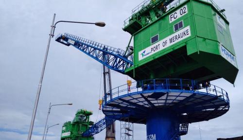 Foto Pelindo IV Datangkan Dua Fix Crane untuk Merauke