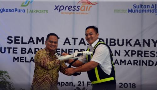 Foto XPress Air Terbang Perdana di Bandara SAMS Sepinggan