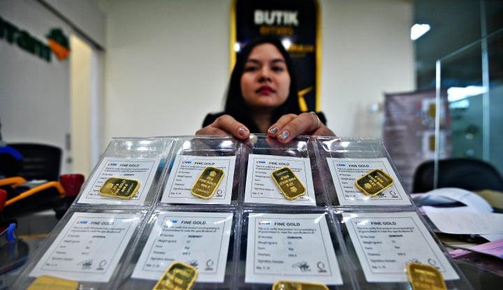 emas berjangka naik karena dolar as merosot
