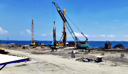 Foto Progress Pembangunan Dermaga Makassar New Port Dipercepat