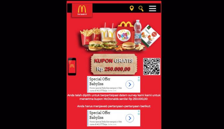 Foto Berita Hoax! McDonald's Bantah Berikan Kupon Gratis Rp255.000