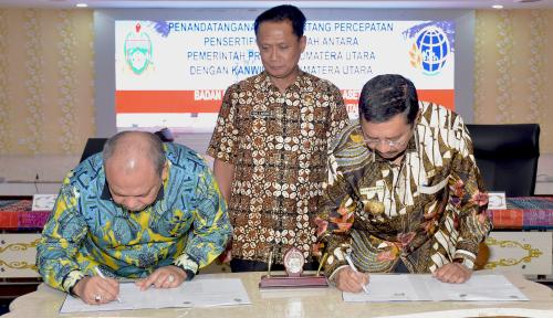 Foto Gubernur Erry Nuradi-Kepala BPN Sumut Teken MoU Percepatan Persertifikatan Tanah
