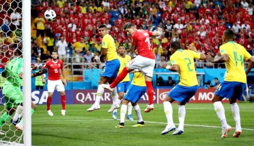 Foto Piala Dunia, Brazil Bermain Imbang dengan Swiss
