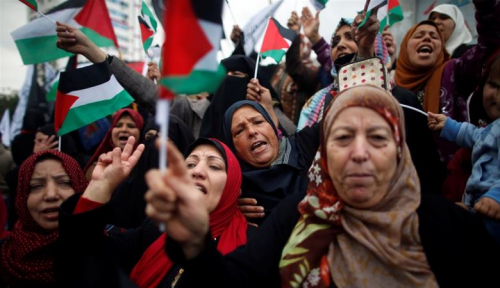 Foto Protes Israel, Ribuan Perempuan Palestina 'Duduki' Gaza