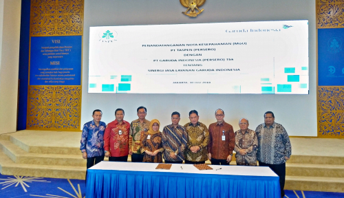 Garuda Indonesia Gandeng Taspen Kembangkan Pasar Pensiunan
