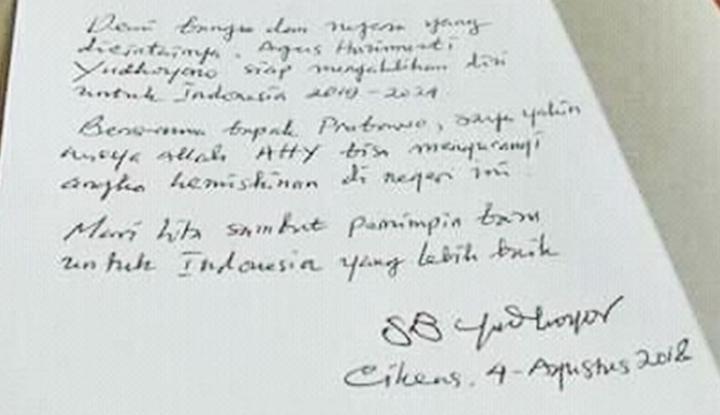 Foto Berita Surat SBY Meminta AHY Jadi Pendamping Prabowo Ternyata Hoax, Ini Isi Suratnya
