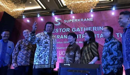 Foto IPO, Superkrane Patok Harga Ro1.260 per Saham