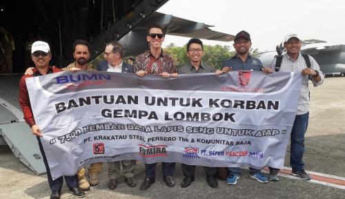 Foto Adanya Bencana di Lombok, BUMN Sinergi Kirimkan 33 Ton Material Bangunan
