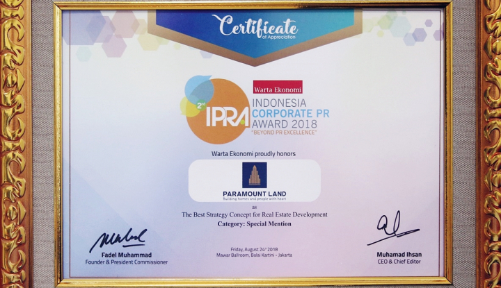 Foto Berita Paramount Land Raih Penghargaan IPRA 2018