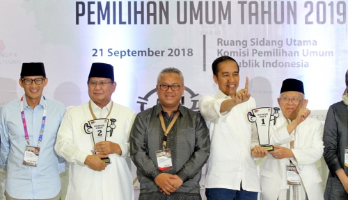 Foto Jokowi-Ma'ruf dan Prabowo-Sandi 'Dilarang' Bahas SARA dalam Debat Pilpres, Jika Tidak....