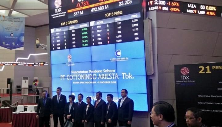 Foto Berita Perdana Masuk Bursa, Saham Perusahaan Kapas Ini Meroket 69,95%