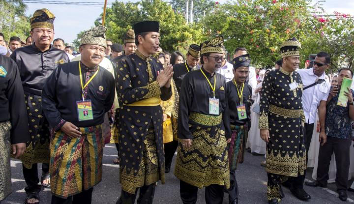 Foto Dapat Gelar Adat Melayu Riau, Pesan Jokowi 'Sejuk'