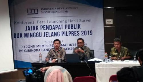 Survei IDM: Jokowi- Ma'ruf 38,76 Persen, Prabowo-Sandi 57,6 Persen
