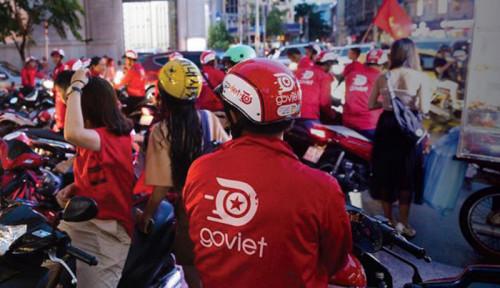 Foto Ratusan Pengemudi Go-Viet Protes Skema Poin Baru