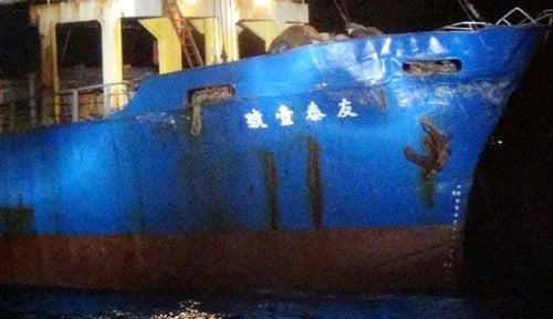 Foto Kapal Perang China Alami Kerusakan Usai Tabrak Kapal Ini