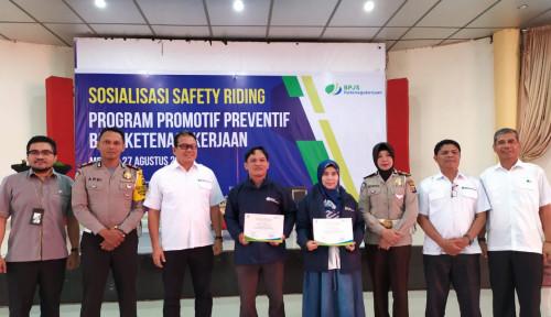Foto Gandeng Polrestabes Medan, BPJS Ketenagakerjaan Sumbagut Sosialisasi Safety Riding
