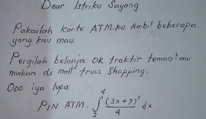 Suami Kasih Kartu ATM untuk Istri Foya-Foya, Ada PIN Soal Matematika yang Harus Dipecahkan - Warta Ekonomi