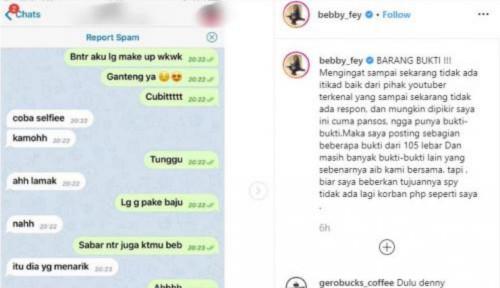 Foto Kesal Dibilang Pansos, Bebby Fey Unggah Bukti Chat Seks dengan Youtuber Berinisial AH