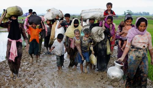 Foto Myanmar Robohkan Perkampungan Warga Rohingya, Diganti Dengan. . .