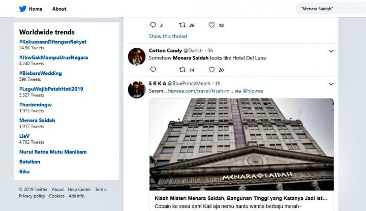 Mirip Hotel Del Luna, Menara Saidah Ikut Curi Panggung di Jagat Twitter - Warta Ekonomi