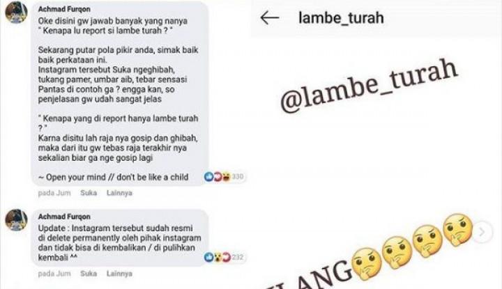 Akun Ghibah Lambe Turah Menghilang, Instagram Hapus Permanen? - Warta Ekonomi