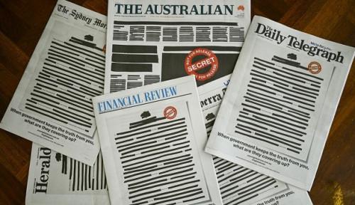 Foto Sejumlah Surat Kabar Australia Lakukan Kampanye 'Hitam' untuk Protes Pembatasan Media