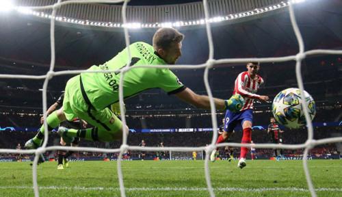 Foto Tandukan Morata Bawa Atletico Madrid Tumbangkan Bayer Leverkusen