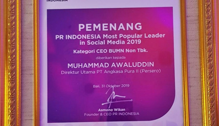 Wah, President Director AP II Dapat Penghargaan Nih... - Warta Ekonomi