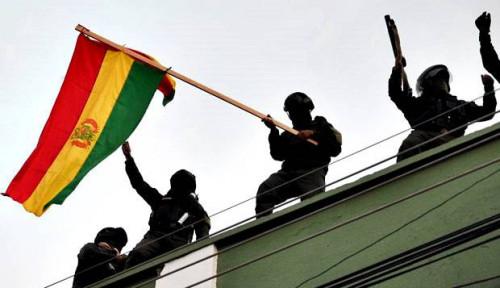 Foto Polisi Bolivia Menentang Evo Morales