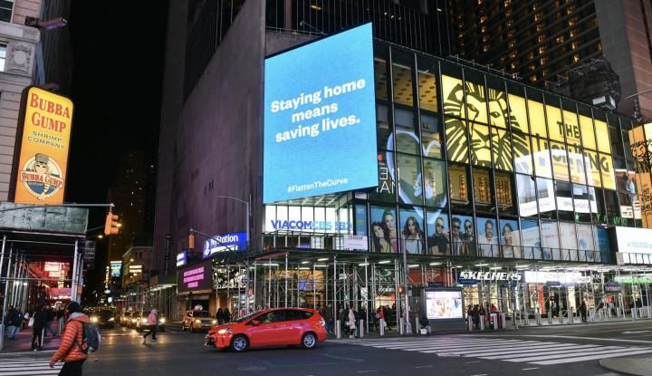 Salut!! Pendiri Reddit Beli Papan Iklan di Time Square Perintahkan Orang-Orang Agar Tetap di Rumah - Warta Ekonomi