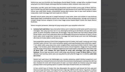 Foto Pasien Corona Surati Presiden Jokowi, Isinya Sungguh...