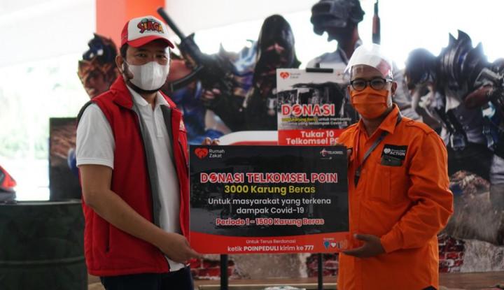Dari Tukar Poin,Telkomsel Sumatera Donasikan 3.000 Karung Beras