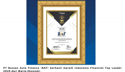BAF Raih Penghargaan Indonesia Financial Top Leader Award 2020