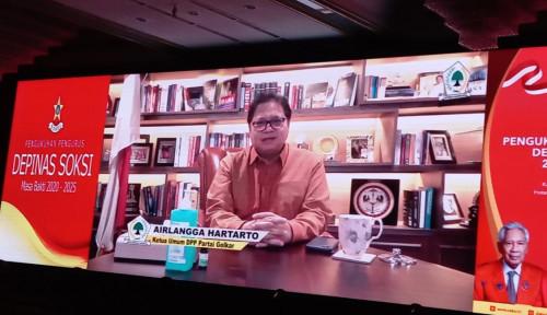 Pesan Airlangga Hartarto untuk Kepengurusan Baru SOKSI di Bawah Ahmadi Noor Supit