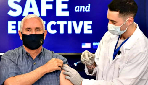 Mau Yakinkan Rakyat, Mike Pence Diinjeksi Vaksin Sambil Disiarkan Live TV