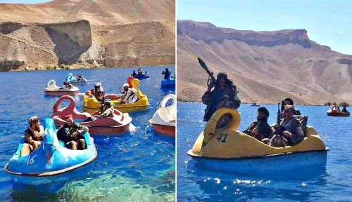 Kocak! Viral Foto Pejuang Taliban Naik Perahu Bebek sambil Bawa Senjata